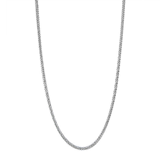"""14K White Gold 18-24"""" 2mm Hollow Wheat Chain Necklace"""