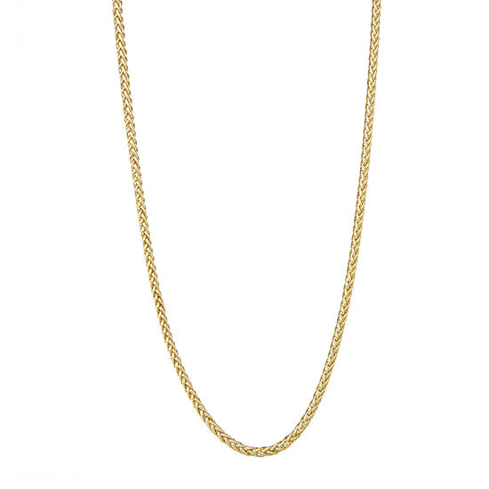 """14K Gold 18-24"""" 3mm Hollow Wheat Chain Necklace"""