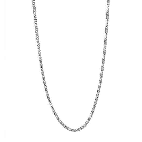 """14K White Gold 18-24"""" 3mm Hollow Wheat Chain Necklace"""