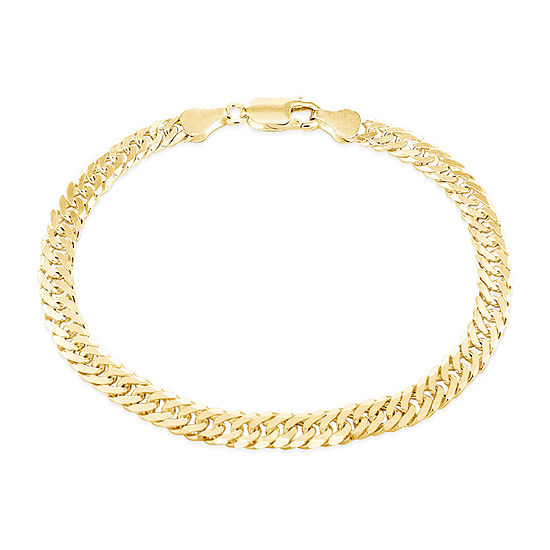 Made in Italy 14K Gold Over Silver 7.5 Inch Solid Curb Chain Bracelet