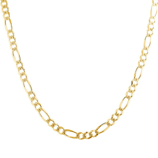 Made in Italy 14K Gold Over Silver 20 Inch Solid Figaro Chain Necklace