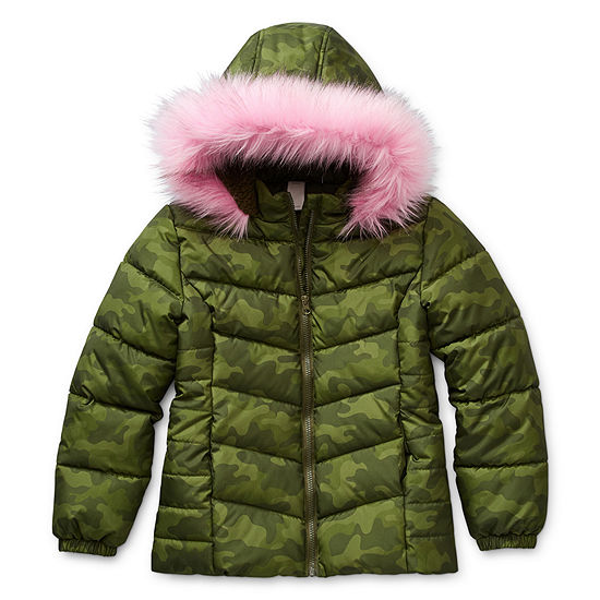 Arizona - Girls Hooded Faux Fur Trim Heavyweight Puffer Jacket