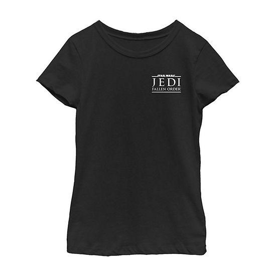 Jedi Fallen Order Left Chest Logo Girls Crew Neck Short Sleeve Star Wars Graphic T-Shirt - Big Kid