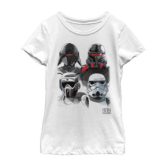 Jedi Fallen Order Trooper Helmets Girls Crew Neck Short Sleeve Star Wars Graphic T-Shirt - Big Kid