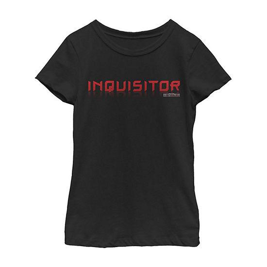 Jedi Fallen Order Inquisitor - Big Kid Girls Crew Neck Star Wars Short Sleeve Graphic T-Shirt