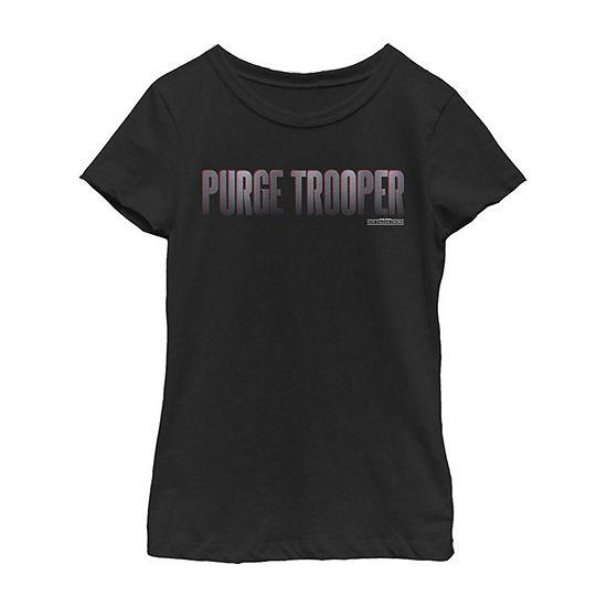 Purge Trooper Text Girls Crew Neck Short Sleeve Star Wars Graphic T-Shirt - Big Kid