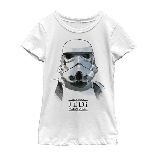 Jedi Fallen Order Stormtrooper Mask Girls Crew Neck Short Sleeve Star Wars Graphic T-Shirt - Big Kid