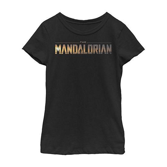 The Mandalorian Logo Girls Crew Neck Short Sleeve Star Wars Graphic T-Shirt - Big Kid