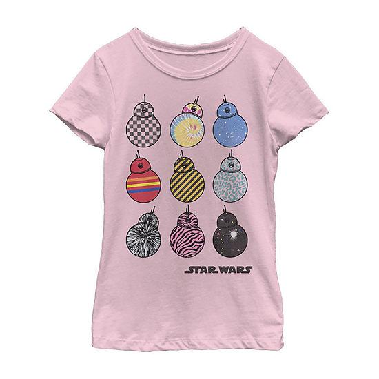 Bb-8 Wild Prints - Big Kid Girls Crew Neck Star Wars Short Sleeve Graphic T-Shirt