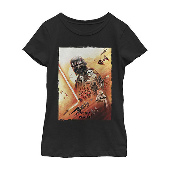Kylo Ren Lightsaber Poster Girls Crew Neck Short Sleeve Star Wars Graphic T-Shirt - Big Kid