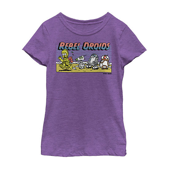 Cartoon Rebel Droids - Big Kid Girls Crew Neck Star Wars Short Sleeve Graphic T-Shirt
