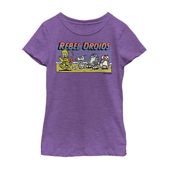 Cartoon Rebel Droids Girls Crew Neck Short Sleeve Star Wars Graphic T-Shirt - Big Kid