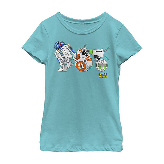 Cartoon Droid Lineup Girls Crew Neck Short Sleeve Star Wars Graphic T-Shirt - Big Kid
