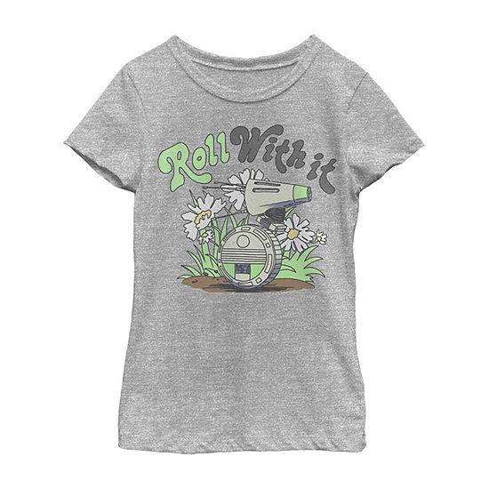 D-Over It Girls Crew Neck Short Sleeve Star Wars Graphic T-Shirt - Big Kid