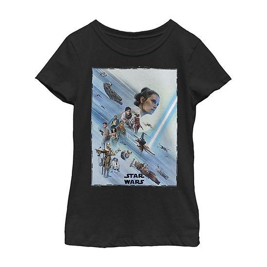 Rey Poster Girls Crew Neck Short Sleeve Star Wars Graphic T-Shirt - Big Kid