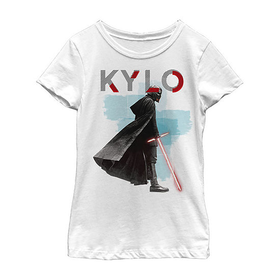 Kylo Red Mask Girls Crew Neck Short Sleeve Star Wars Graphic T-Shirt - Big Kid