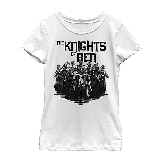 Inked Knights - Big Kid Girls Crew Neck Star Wars Short Sleeve Graphic T-Shirt