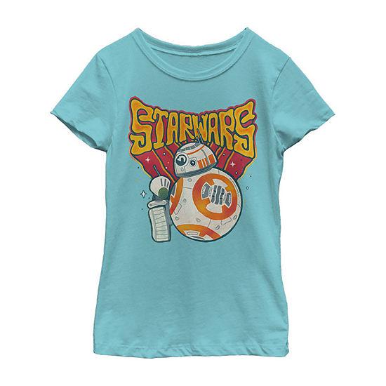 Wobbly Girls Crew Neck Short Sleeve Star Wars Graphic T-Shirt - Big Kid