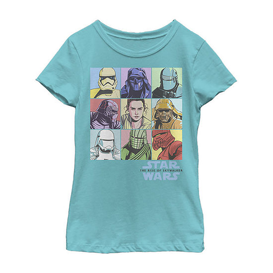 Pastel Rey Boxes Girls Crew Neck Short Sleeve Star Wars Graphic T-Shirt - Big Kid