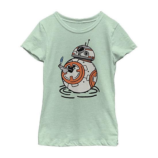 Bb Doodles Girls Crew Neck Short Sleeve Star Wars Graphic T-Shirt - Big Kid