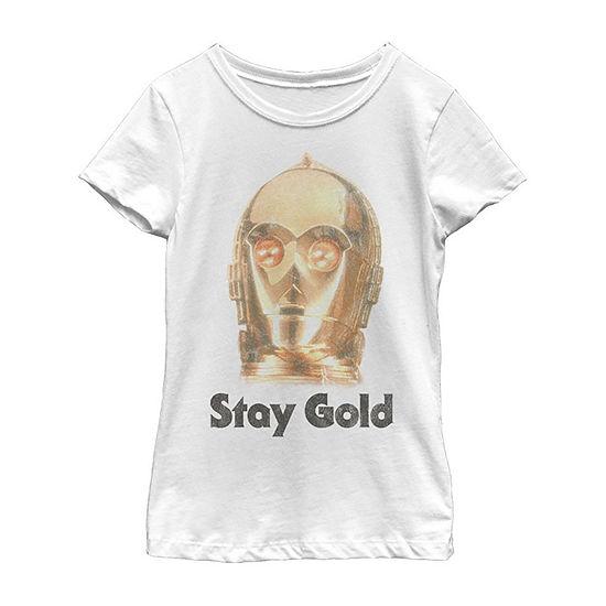 Stay Gold Girls Crew Neck Short Sleeve Star Wars Graphic T-Shirt - Big Kid