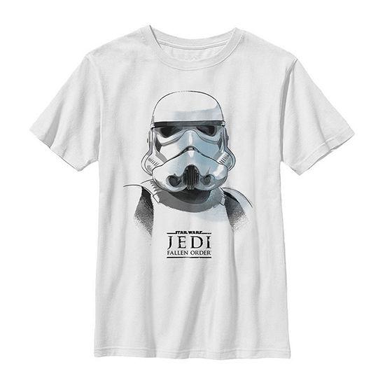 Jedi Fallen Order Stormtrooper Mask - Big Kid Boys Slim Crew Neck Star Wars Short Sleeve Graphic T-Shirt
