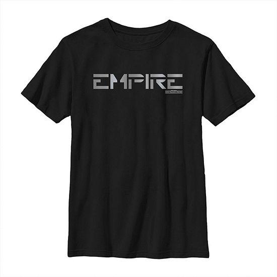 Jedi Fallen Order Empire Text - Big Kid Boys Slim Crew Neck Star Wars Short Sleeve Graphic T-Shirt