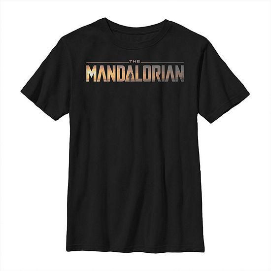 The Mandalorian Logo Boys Crew Neck Short Sleeve Star Wars Graphic T-Shirt - Big Kid Slim