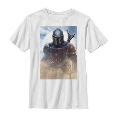 Mandalorian Warrior Big Boys Slim Crew Neck Star Wars Short Sleeve Graphic T-Shirt