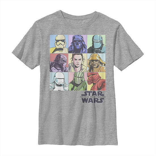 Rainbow Pastel Rey Vs Evil Box Up Boys Crew Neck Short Sleeve Star Wars Graphic T-Shirt - Big Kid Slim