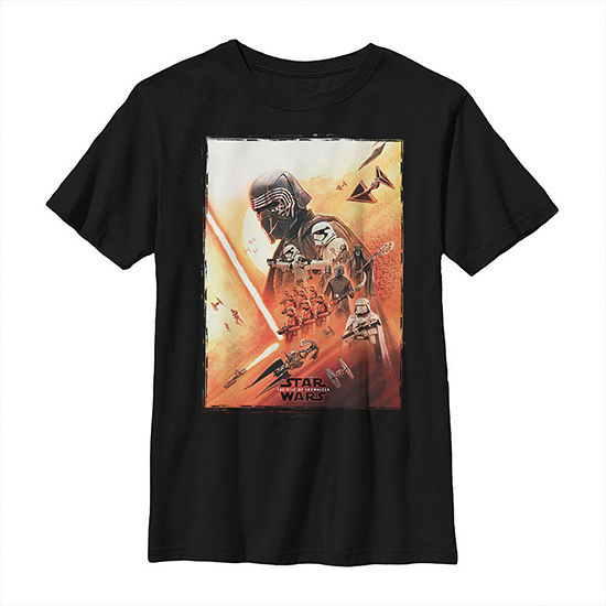 Kylo Ren Lightsaber Poster Boys Crew Neck Short Sleeve Star Wars Graphic T-Shirt - Big Kid Slim