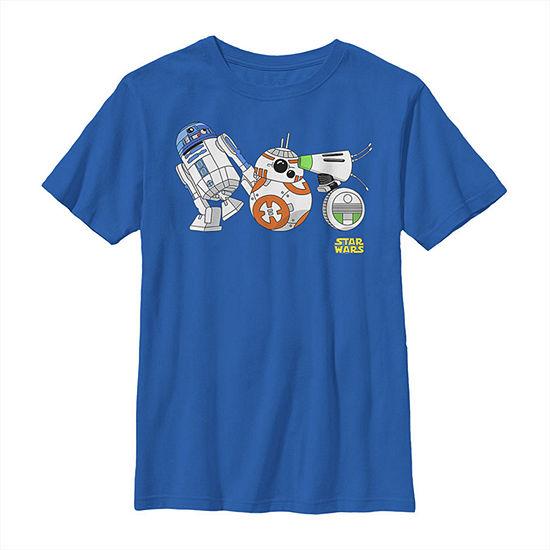 Cartoon R2-D2 Bb-8 D-O Droid Lineup - Big Kid Boys Slim Crew Neck Star Wars Short Sleeve Graphic T-Shirt