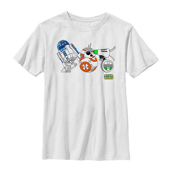 Cartoon R2-D2 Bb-8 D-O Droid Lineup Boys Crew Neck Short Sleeve Star Wars Graphic T-Shirt - Big Kid Slim