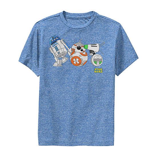 Cartoon R2-D2 Bb-8 D-O Droid Lineup Big Boys Slim Crew Neck Star Wars Short Sleeve Graphic T-Shirt