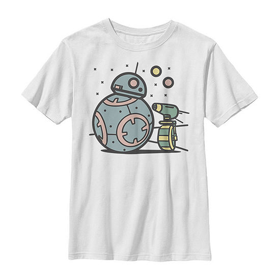 Pastel Bb-8 And D-O Droid Buds Boys Crew Neck Short Sleeve Star Wars Graphic T-Shirt - Big Kid Slim