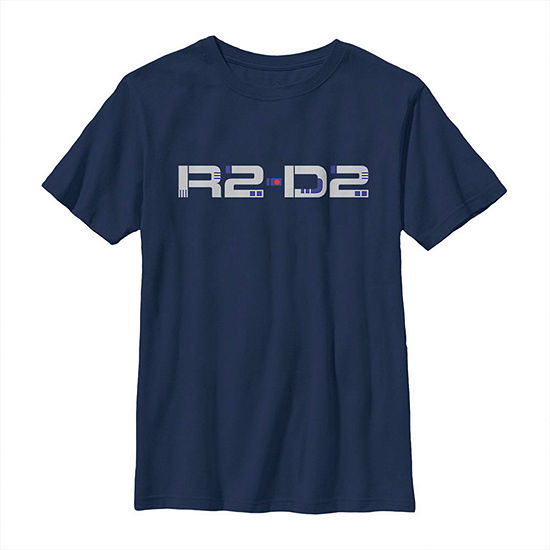 R2-D2 Droid Text Boys Crew Neck Short Sleeve Star Wars Graphic T-Shirt - Big Kid Slim