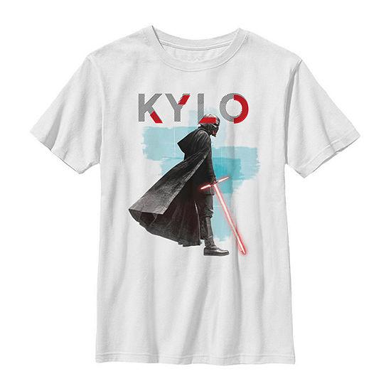 Kylo Ren Red Lightsaber Boys Crew Neck Short Sleeve Star Wars Graphic T-Shirt - Big Kid Slim