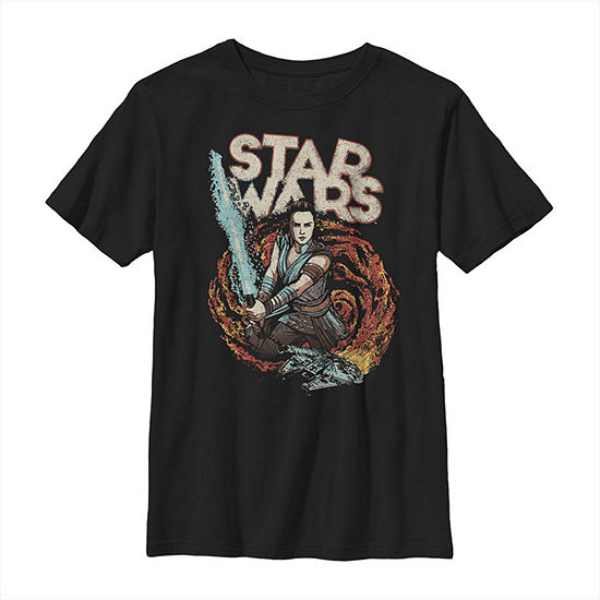 Millennium Falcon Galaxy Lightsaber Rey - Big Kid Boys Slim Crew Neck Star Wars Short Sleeve Graphic T-Shirt