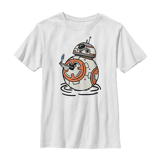 Bb-8 A Light In The Darkness Boys Crew Neck Short Sleeve Star Wars Graphic T-Shirt - Big Kid Slim