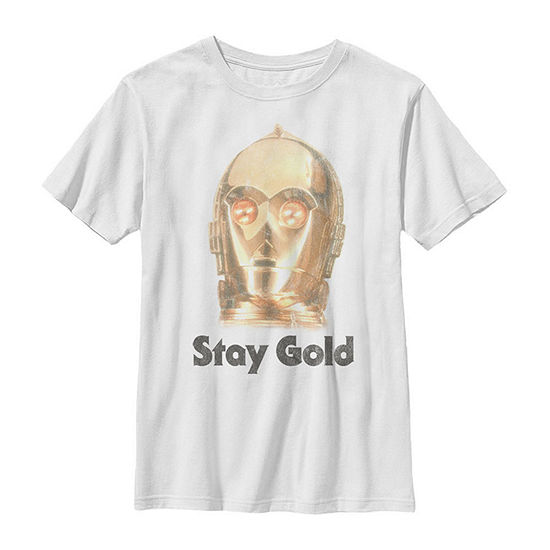 C-3po Stay Gold Big Face Boys Crew Neck Short Sleeve Star Wars Graphic T-Shirt - Big Kid Slim