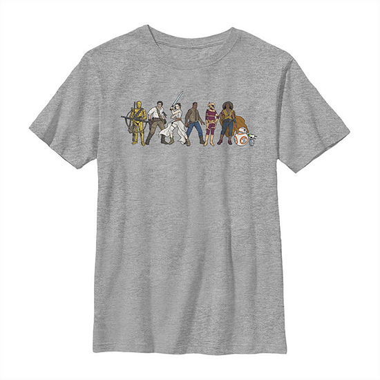 Resistance Cartoon Lineup Boys Crew Neck Short Sleeve Star Wars Graphic T-Shirt - Big Kid Slim