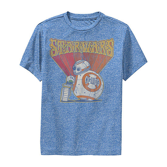 Retro Psychedelic Bb-8 And D-O Boys Crew Neck Short Sleeve Star Wars Graphic T-Shirt - Big Kid Slim
