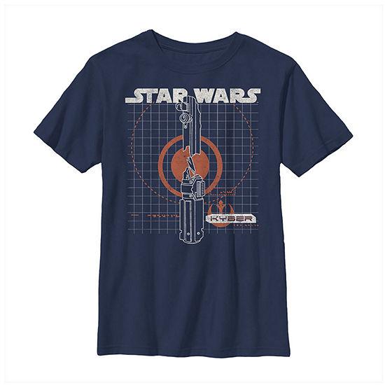Kyber Schematics Boys Crew Neck Short Sleeve Star Wars Graphic T-Shirt - Big Kid