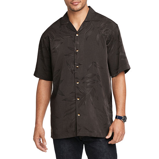 Van Heusen Mens Short Sleeve Cooling Moisture Wicking Jacquard Button-Front Shirt