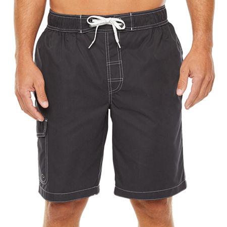 "St. John's Bay Solid 10"" Cargo Swim Shorts, Small , Black"