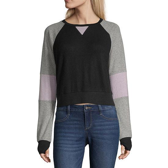 Flirtitude Juniors Womens Crew Neck Long Sleeve Sweatshirt