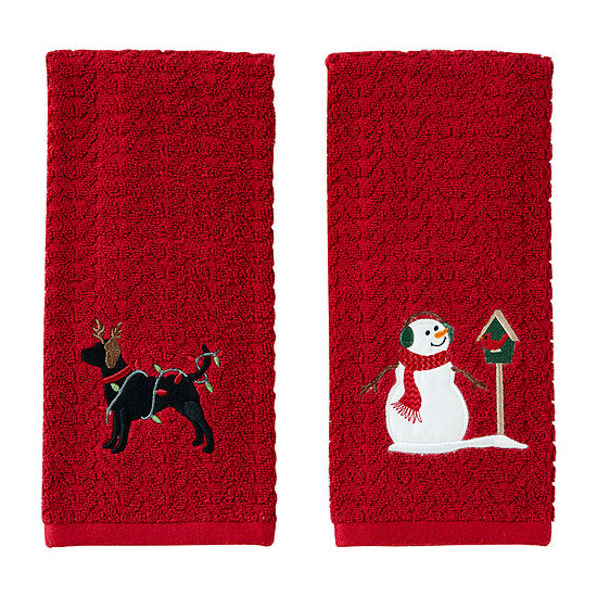 Saturday Knight Reindeer Dog And Snowman 2-pc. Hand Towel