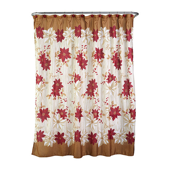 Saturday Knight Poinsettia Shower Curtain Set