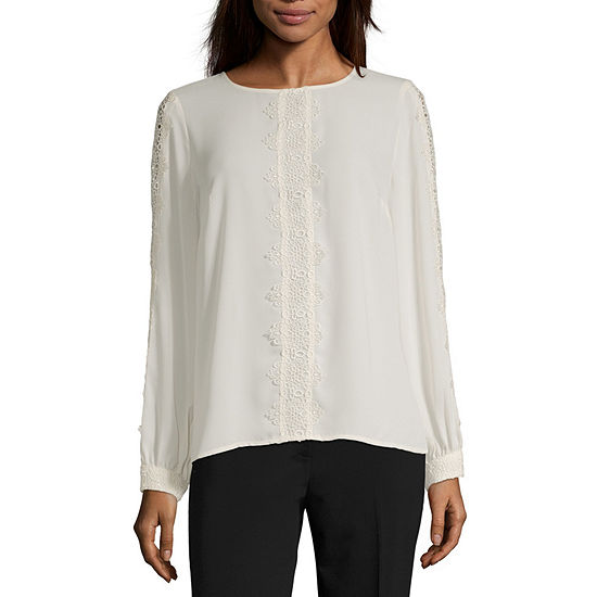 Liz Claiborne Womens Round Neck Long Sleeve Blouse