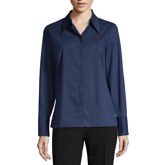 Worthington Womens Long Sleeve Regular Fit Button-Front Shirt